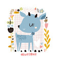 cute cartoon deer in floral frame in scandinavian vector image vector image