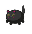 cute cartoon kawaii black cat on white background vector image vector image