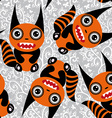 Cute tsartoon orange monster with a striped tail vector image