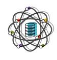 data science atom around of server icon watercolor vector image vector image
