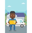 Delivery man carrying cardboard boxes vector image vector image