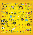 funny happy yellow emojismiley emoticons vector image vector image