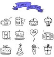 Hand draw of new year and christmas icons vector image vector image