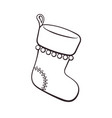hand drawn doodle christmas sock for gifts vector image