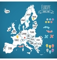 Hand drawn Europe travel map with pins vector image vector image