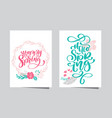 hand drawn lettering happy spring and hello spring vector image