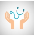 hands stethoscope medicine healthcare icon vector image vector image