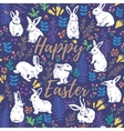 Happy Easter floral card with white rabbits vector image vector image