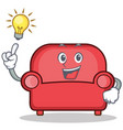 have an idea red sofa character cartoon vector image