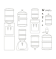 Icons for water cooler appliance vector image