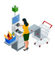 isometric self-service cashier or terminal young vector image