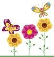 kawaii flowers 4 vector image