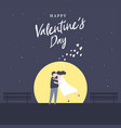 lovely young joyful couple hug in the moon light vector image