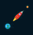 rocket is flying from earth to the planet mercury vector image