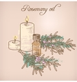 Rosemary essential oil and candles vector image