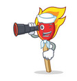 sailor with binocular match stick mascot cartoon vector image vector image