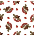 seamless pattern with rowan and cones and hearts vector image