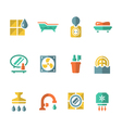 Set flat icons of bathroom vector image