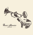 set man playing trumpet vintage hand drawn sketch vector image vector image