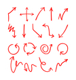 Set of 18 hand drawn red arows vector image vector image