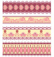 set of ribbons with hearts and flowers in pink vector image