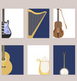 set of stringed cards with musical instruments vector image vector image