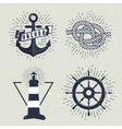 set retro nautical labels vector image