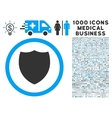 Shield Icon with 1000 Medical Business Symbols vector image vector image