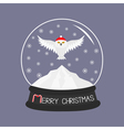 Snowy white owl Red Santa hat Flying bird Big vector image vector image
