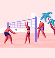 teenagers team playing beach volleyball on coast vector image vector image