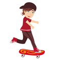 The happy boy on a skateboard vector image