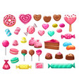 valentines day heart candies sweets and cakes vector image