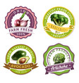 vegetables label set vector image vector image