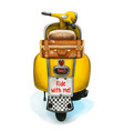 watercolor yellow scooter with vintage suitcase vector image