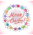 Xmas colored decorated gems round shape frame vector image vector image