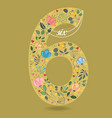 yellow number six with floral decor and necklace vector image vector image