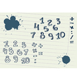 Set of Hand drawn Numbers vector image