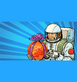 astronaut gives the planet mars vector image vector image