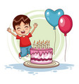 boy jumping on his birthday vector image