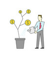 businessman is watering a money tree vector image