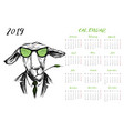 calendar 2019 with funny hipster donkey vector image vector image