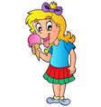cartoon girl with icecream vector image