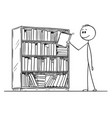 cartoon man taking book from bookcase vector image