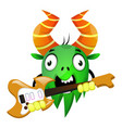 Cartoon monster holding an electric guitar on