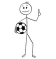 cartoon of smiling football or soccer player vector image vector image