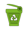 color image cartoon trash can with recycling vector image