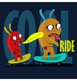 cool monster to skateboard graphic vector image vector image