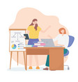 coworking young women employees with board vector image vector image