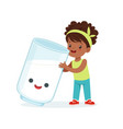 cute black little girl and funny milk glass with vector image vector image