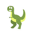 cute cartoon green dinosaur prehistoric dino vector image